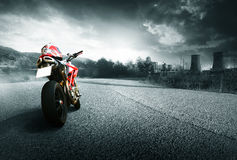 Motorcycle. Red motorcycle on a road Royalty Free Stock Image