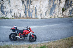 Motorcycle. Red motorcycle on a road Stock Photography