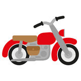 Red motorcycle. Red vintage motorbike with handlebar, fenders, exhaust, tank and brown bag Vector Illustration