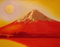 Red Mount Fuji with Gold Sun from Lake`Kawaguchi` Japan Stock Photography