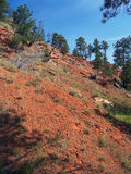 Red Mountain. Red soil on the side of a mountain Royalty Free Stock Photo