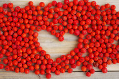 Red mountain ash in a wooden support and heart from mountain ash berries Stock Images