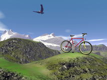 Red mountain bike - 3D render. Red mountain bike at the mountain by summer day with eagle flying in the blue sky Royalty Free Stock Images
