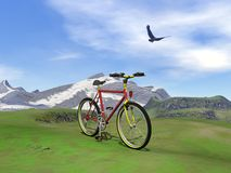 Red mountain bike - 3D render. Red mountain bike at the mountain by summer day with eagle flying in the cloudy sky Royalty Free Stock Image