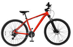 red Mountain bike on the white isolated background Stock Image