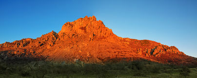Red mountain and blue sky panorama Royalty Free Stock Images