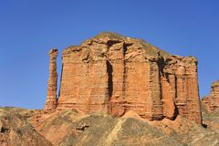 Red mountain canyon. Mountains with red color under morning sunshine, located in Qilian mountains Royalty Free Stock Photos