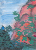 Red Mountain, Chinese Brush painting on rice paper Stock Image