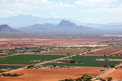 Red Mountain and Four Peaks Stock Image