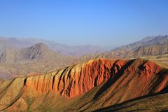 Red mountain. Mountains with red color under morning sunshine, located in Qilian mountains Stock Photography