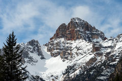 Red Mountain near Cortina d'Ampezzo. Red Mountain in the Dolomites near Cortina d'Ampezzo Stock Images
