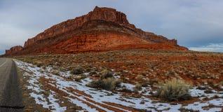 Red mountain near road in Arizona USA. Show hill near road in Arizona USA Stock Photography