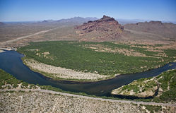 Red Mountain and the Salt River Royalty Free Stock Images