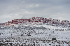 Free Red Mountain With Snow Haze At Sunset Stock Images - 66507694