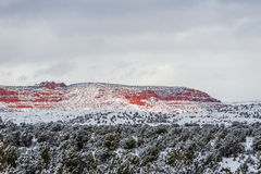 Free Red Mountain With Snow Haze At Sunset Royalty Free Stock Images - 66507969