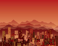 Red mountains city Royalty Free Stock Images