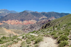 Red mountains landscape near Tilcara in Argentina Royalty Free Stock Photo