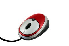 Red Mouse. Red computer mouse isolated on white background royalty free stock photos
