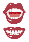 Red mouth smiling, vector. Happy big smile with white teeth, vector illustration Royalty Free Stock Images