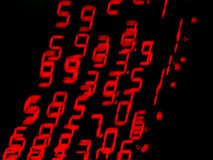 Red moving Numbers. Moving red numbers of LED display Stock Images