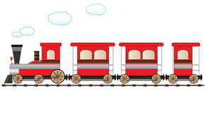 Red moving train. Cute red train moving on the railroad Royalty Free Stock Images