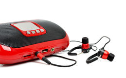 Red MP3 and headphones Royalty Free Stock Image