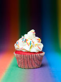 Red muffin rainbow background Stock Photography