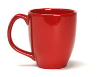 Red Mug. Single Red coffee mug on white background royalty free stock photo