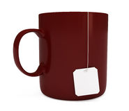 Red mug with blank teabag label, isolated on white. Red mug (cup) with blank teabag label, isolated on white, 3d illustration Stock Photography