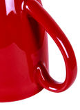 RED MUG WITH HAND ISOLATED Stock Images