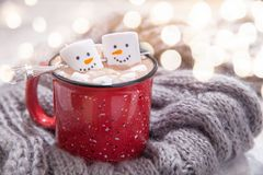 Hot chocolate with melted snowman Royalty Free Stock Photos