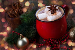 Red mug with hot chocolate Royalty Free Stock Images