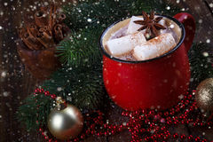 Red mug with hot chocolate Stock Images
