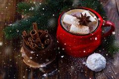 Red mug with hot chocolate Royalty Free Stock Image