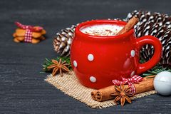 Red mug with hot white chocolate and gingerbread cookies Stock Photo
