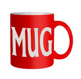 Red mug isolated - office humour, humor. Pun intended. Office or home humour mug stock images