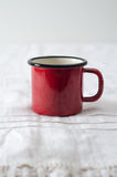 Red mug in the kitchen Royalty Free Stock Images