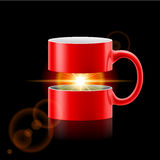 Red mug of two parts with sunshine inside Stock Photo