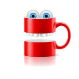 Red mug of two parts with teeth and froggy eyes Royalty Free Stock Photos