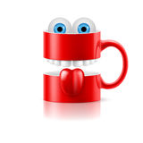 Red mug of two parts with teeth, tongue and froggy eyes Stock Images