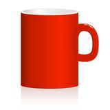 Red mug on white background. Vector. Royalty Free Stock Images