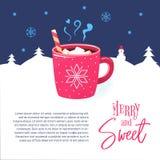 Red mug winter hot chocolate cocoa marshmallows. vector illustration