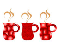 Red mugs set Stock Image