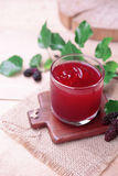 Red mulberry juice on the table Royalty Free Stock Photography