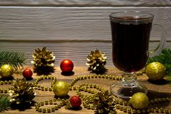 Red mulled wine, CHristmas decoration background. stock photo