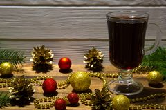 Red mulled wine, CHristmas decoration background. stock image