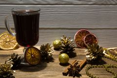 Red mulled wine with cinnamon sticks and anise star. Christmas b royalty free stock images