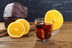 Red mulled wine with fruits and cinnamon Royalty Free Stock Image