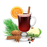 Red Mulled Wine For Winter And Christmas Stock Image