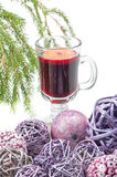 Red mulled wine and xmas decorations Stock Image